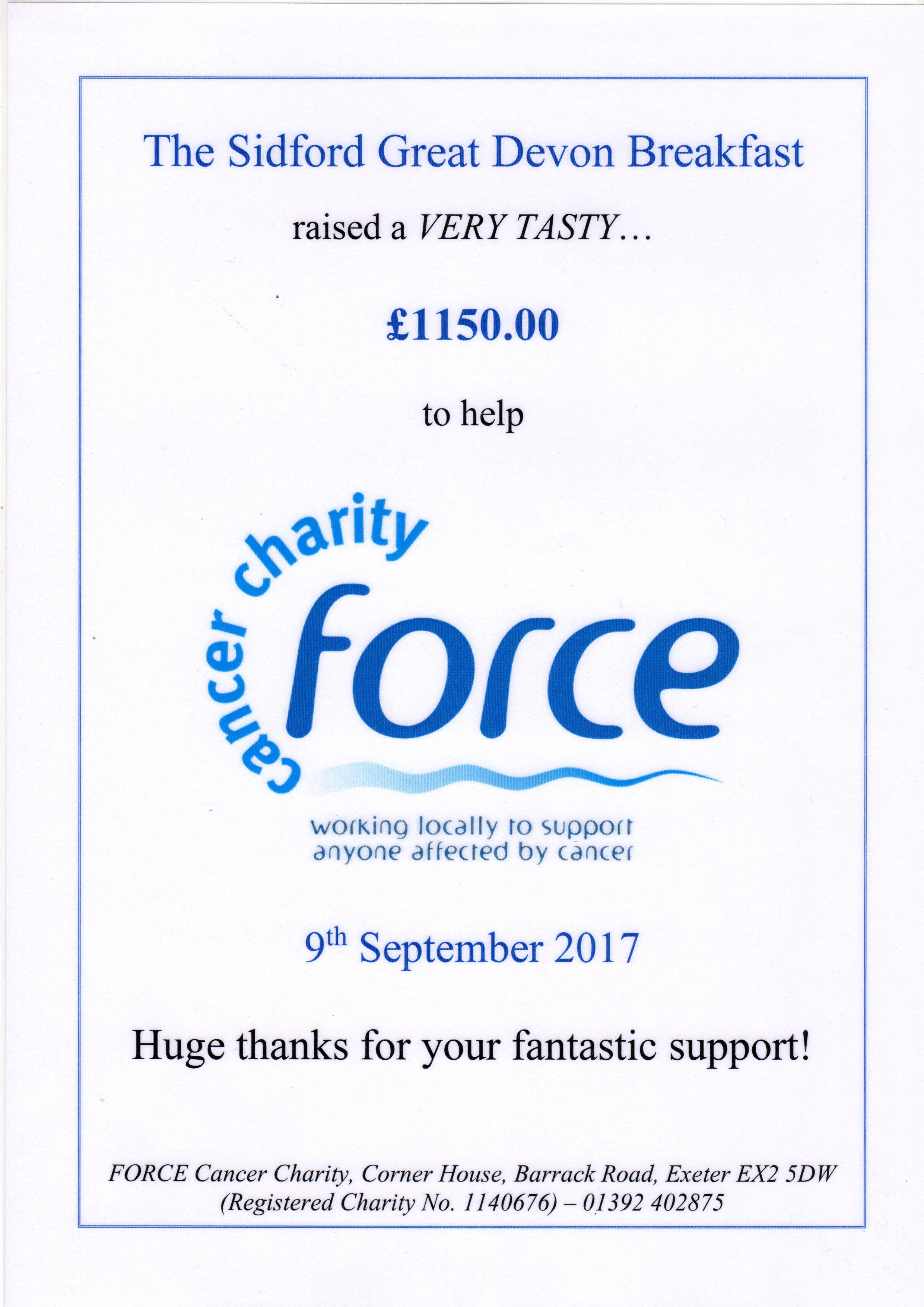 Hamiltons Sponsor FORCE Cancer Charity